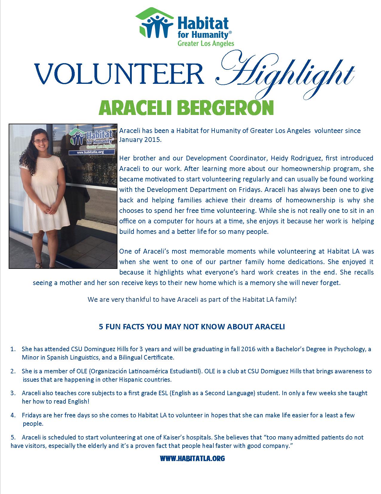 Volunteer Highlight - Araceli Bergeron-Ali edits