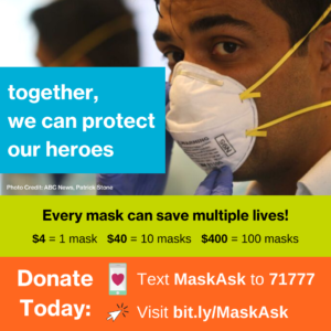 COVID-19 Emergency Relief Fund Mask Ask with a breakdown of how many masks a donation will get you.