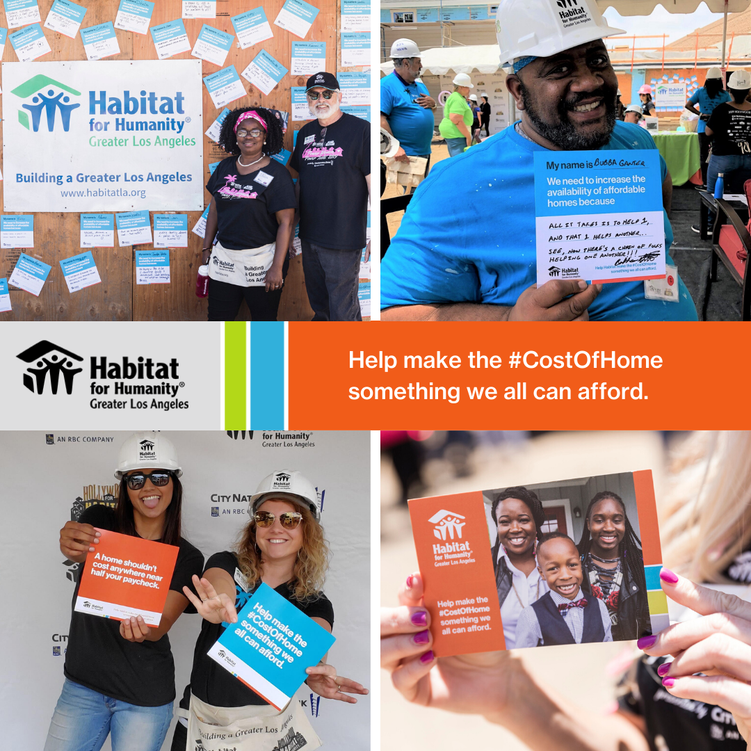 Four separate photos highlighting the Cost of Home information cards held by various Habitat LA staff/ supporters.