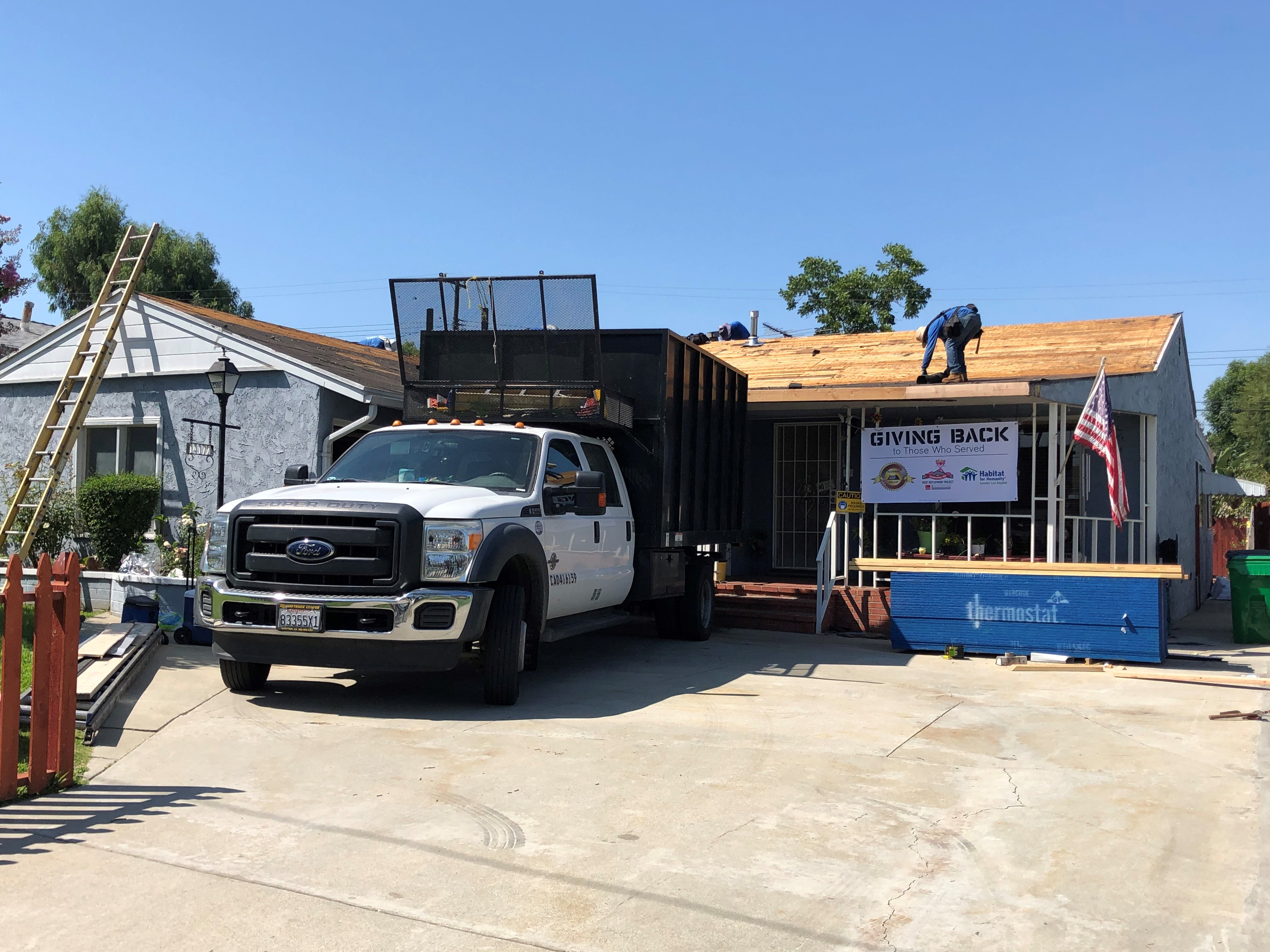 The new roof being build.