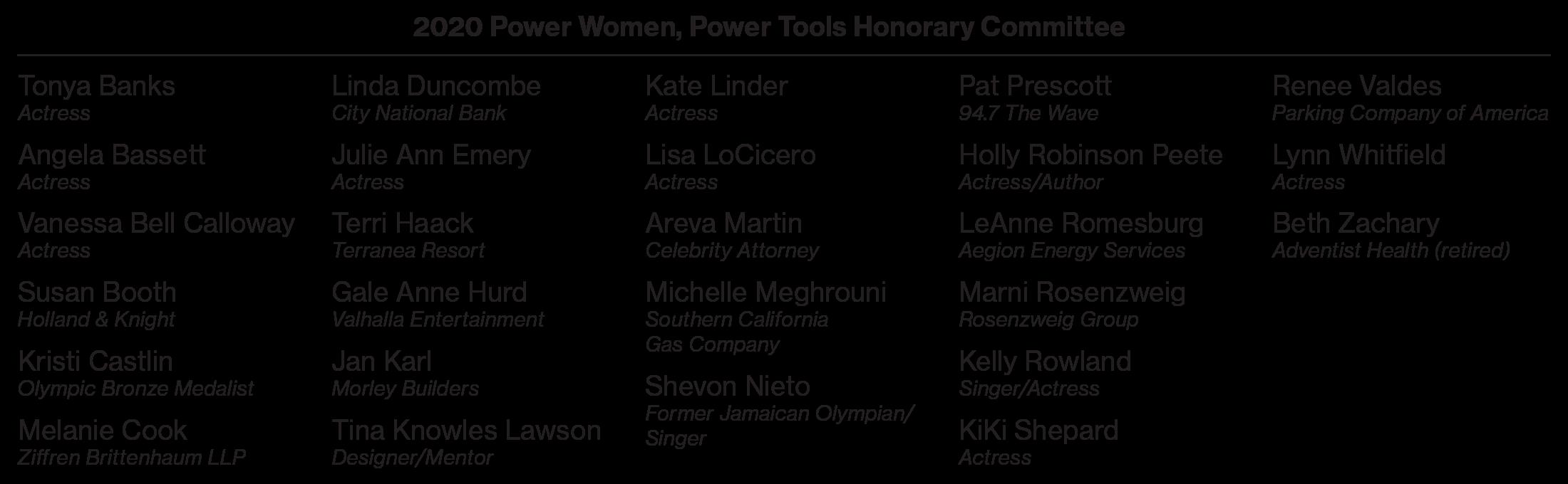 2020 Power Women, Power Tools® Honorary Committee