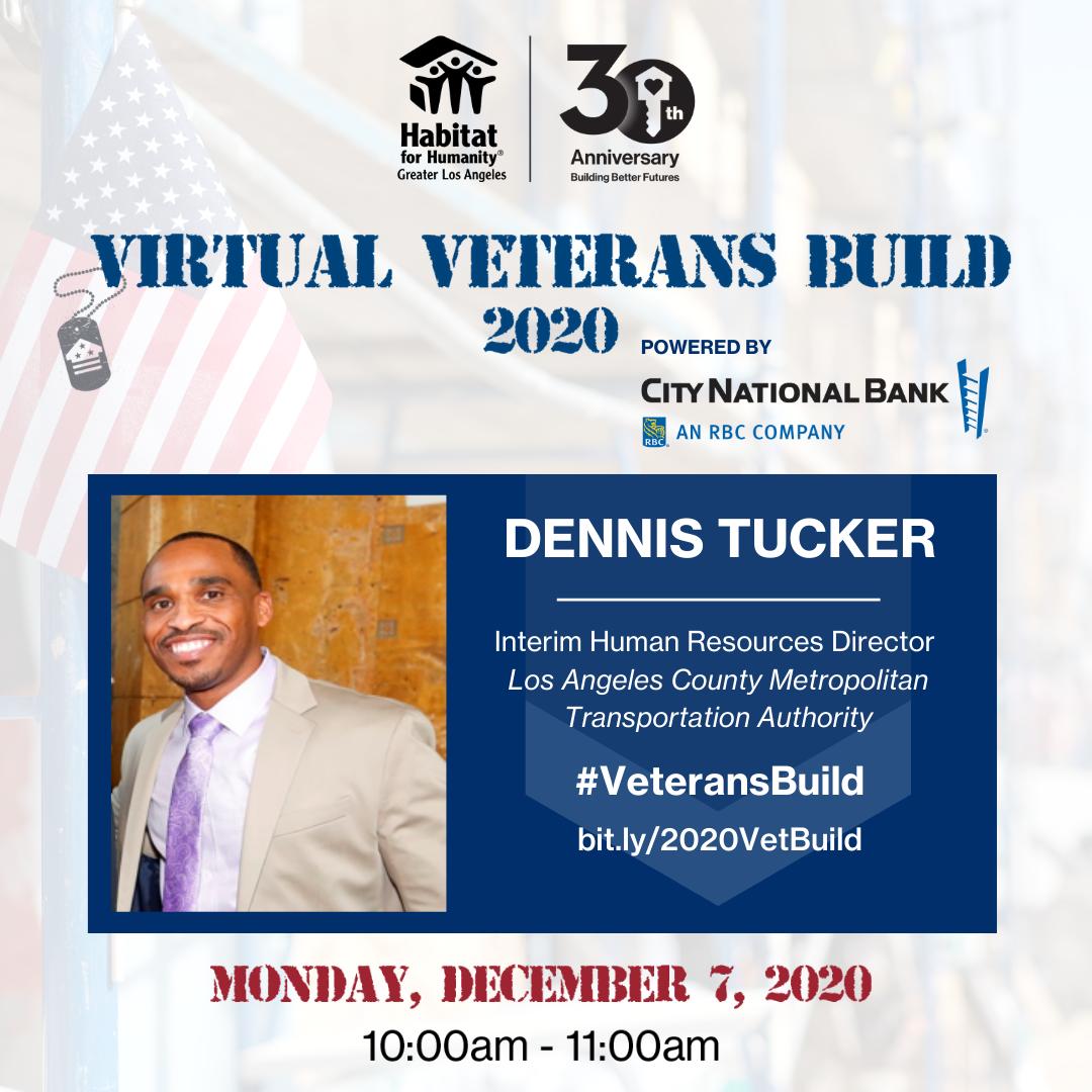 Graphic for Dennis Tucker, panel speaker for 2020 Veterans Build