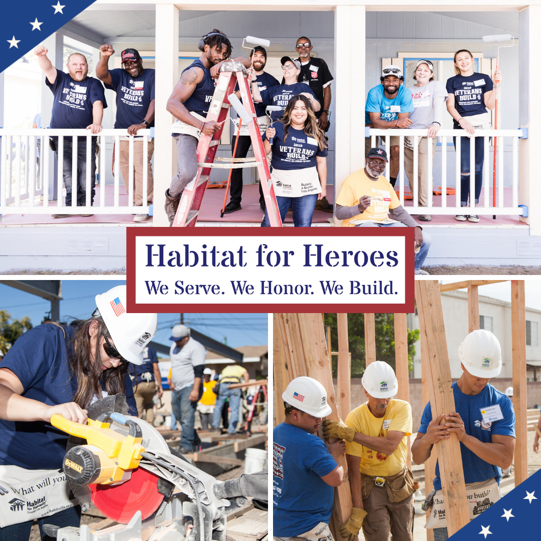 Collage of volunteers helping to repair homes for veterans.