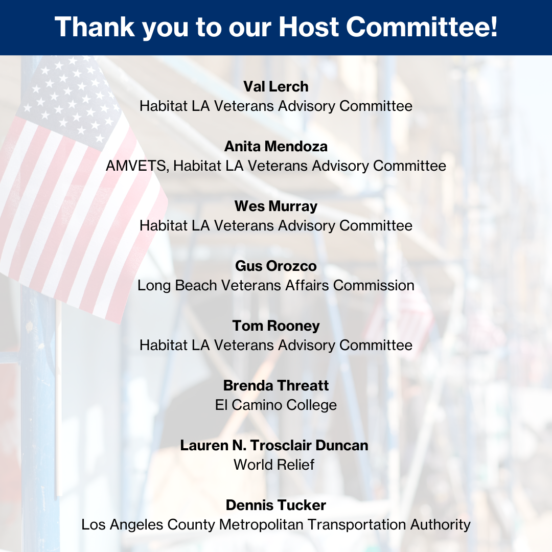 List of names of the host committee for the Virtual Veterans Build