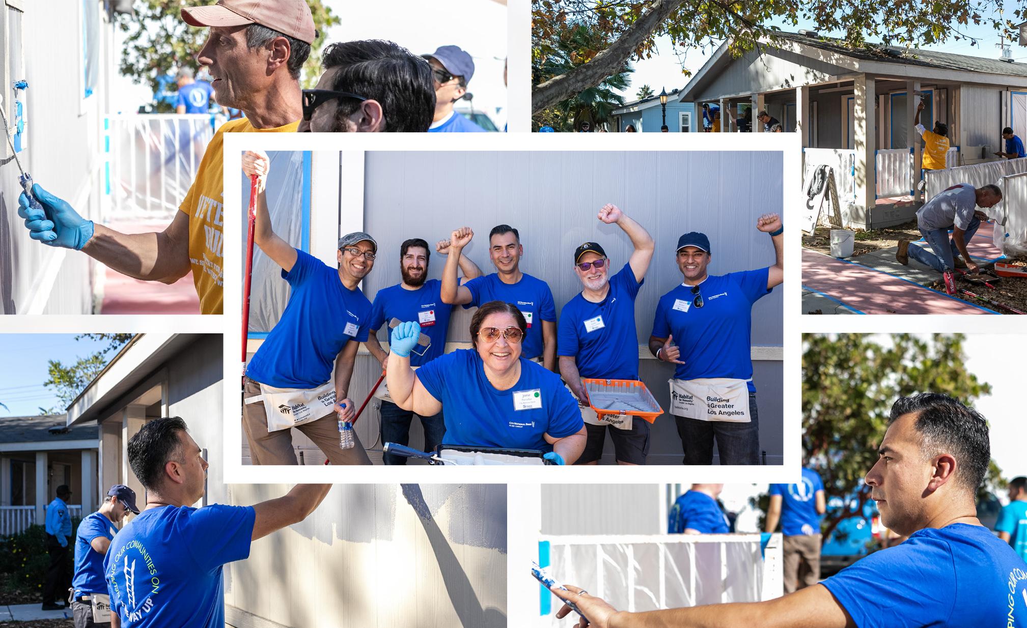 Collage of volunteers helping to repair veterans homes.